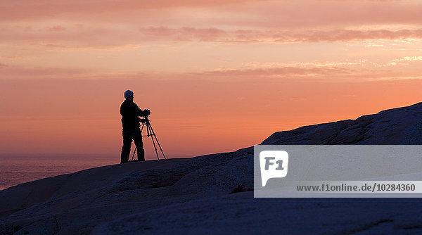 Sonnenuntergang Silhouette Mensch fotografieren