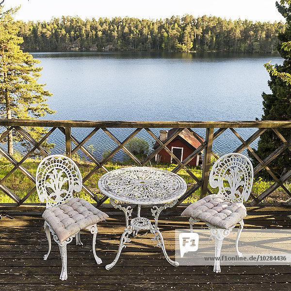 Stuhl See Ansicht Terrasse Tisch Metall