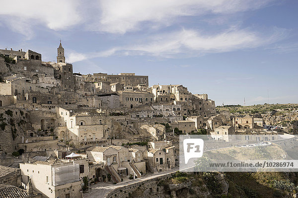 High angle view of ancient town of Matera (Sassi di Matera)  Basilicata Region  Italy