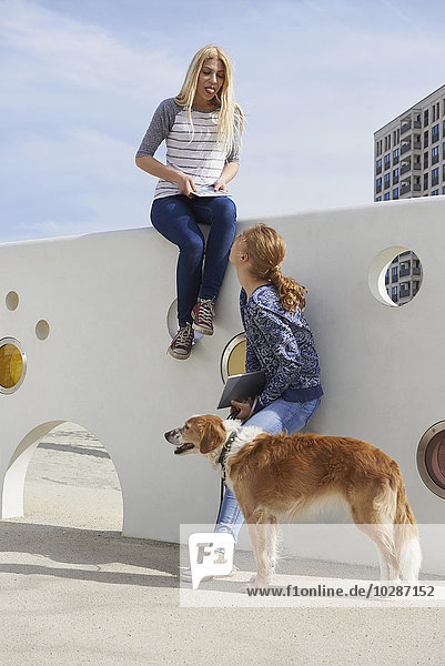 Two friends having fun in a playground with dog  Munich  Bavaria  Germany