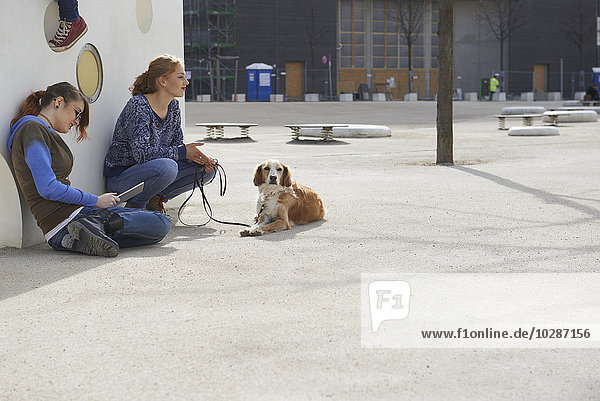 Two friends sitting in a playground with dog  Munich  Bavaria  Germany