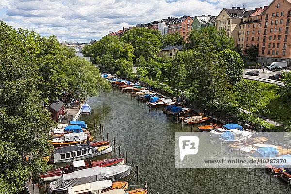 High angle view of boats moored at harbour  Palsundet  Sodermalm  Stockholm  Sweden
