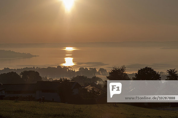 Sun shining over Chiemsee lake  Bavaria  Germany
