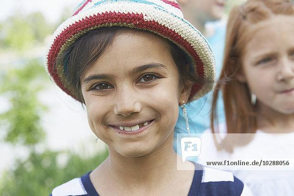 Portrait of a girl smiling  Bavaria  Germany