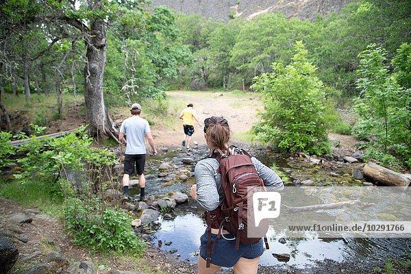 Kleine Gruppe von Freunden beim Wandern über den Bach  Rückansicht