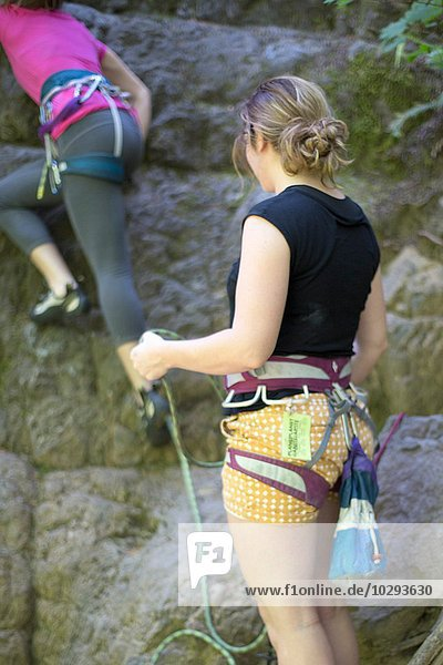 Friends rock climbing  French's Dome  Zig Zag  Oregon  USA