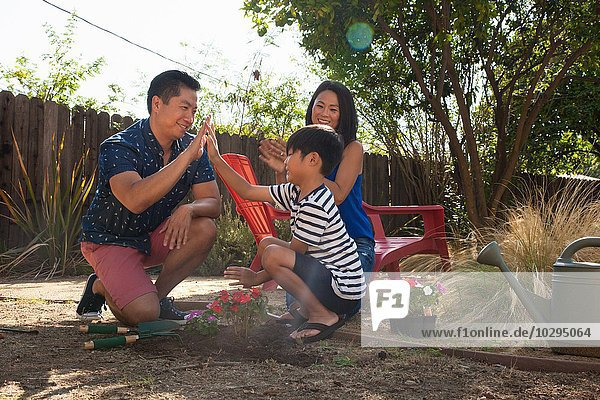 Vater und Sohn geben High Five im Garten