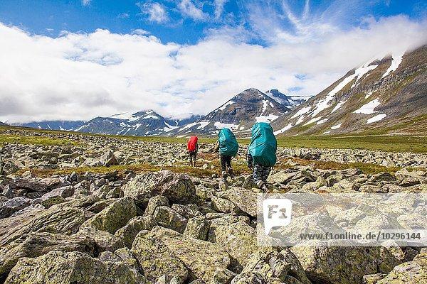 Rückansicht von drei Wanderern  Uralgebirge  Russland