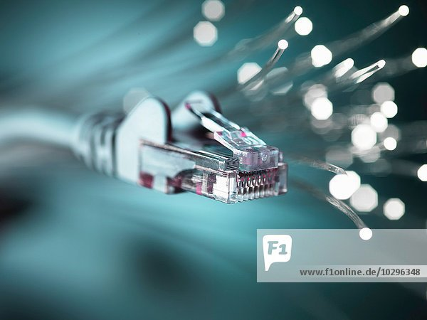Internet-Netzwerkanschluss mit Lichtwellenleiter  Nahaufnahme