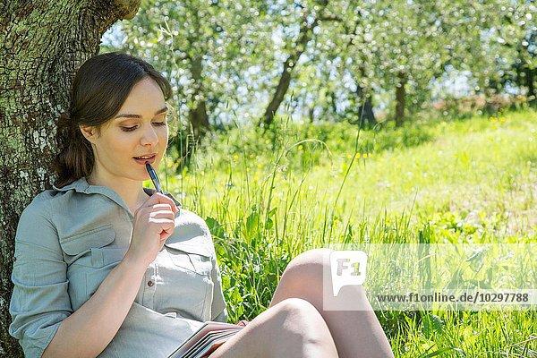 Junge Frau  die sich an den Baum lehnt und auf den Füller kaut Junge Frau, die sich an den Baum lehnt und auf den Füller kaut