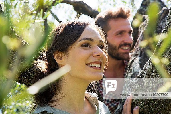 Junges Paar im Baum schaut lächelnd weg Junges Paar im Baum schaut lächelnd weg