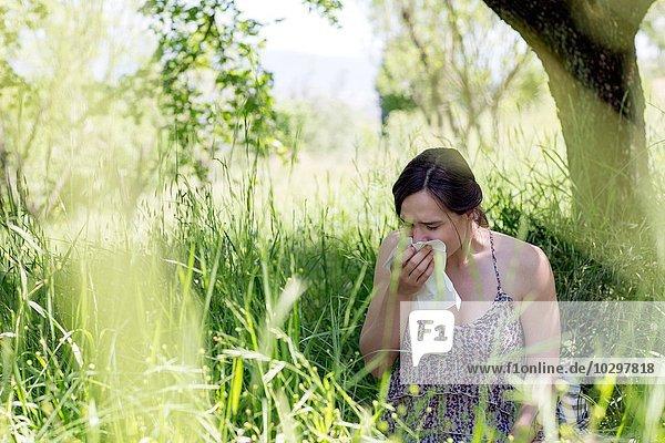 Junge Frau im hohen Gras niesend ins Taschentuch Junge Frau im hohen Gras niesend ins Taschentuch