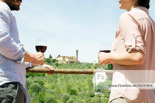 Beschnittene Ansicht des jungen Paares von Angesicht zu Angesicht mit Weingläsern Beschnittene Ansicht des jungen Paares von Angesicht zu Angesicht mit Weingläsern