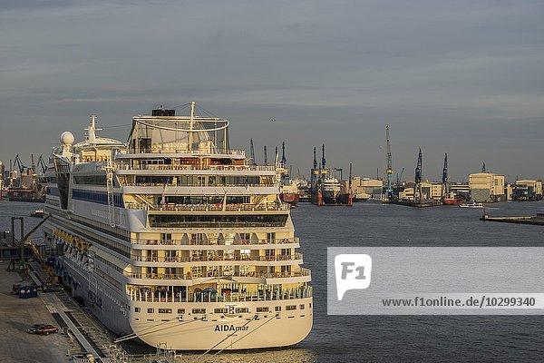 Kreuzfahrtschiff AIDAmar liegt vor Anker  Hafen  Hamburg  Deutschland  Europa