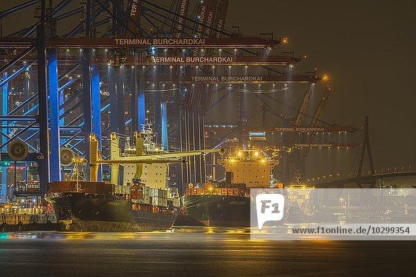 Container-Schiffe im Hafen  Containerterminal  Hamburg  Deutschland  Europa