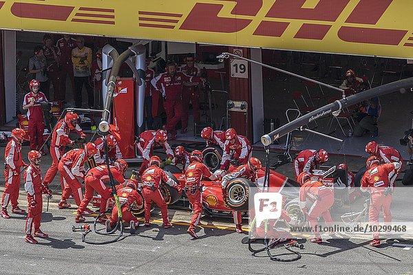 Reifenwechsel  Team Ferrari  Formel 1 Autorennen  Barcelona  Spanien  Europa