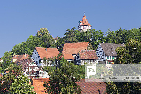 Altstadt von Möckmühl mit Burg  Jagst  Landkreis Heilbronn  Baden-Württemberg  Deutschland  Europa