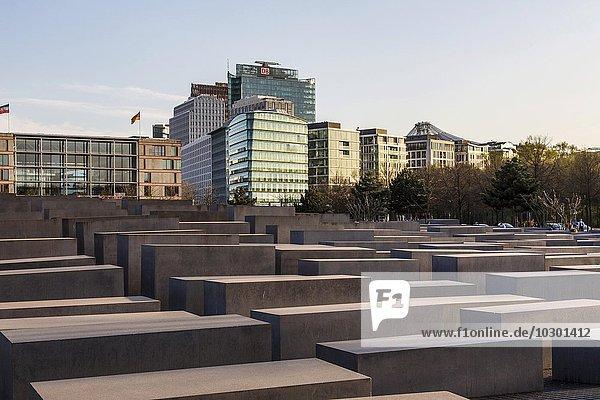 Skyline der Häuser am Potsdamer Platz  Denkmal für die ermordeten Juden Europas  Holocaust-Mahnmal  von Architekt Peter Eisenmann  Berlin  Deutschland  Europa