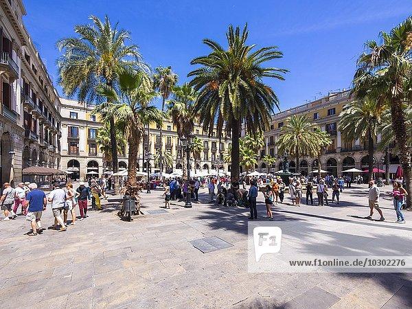 Platz Reial  Plaça Reial  Barri Gòtic  Gotisches Viertel  Barcelona  Katalonien  Spanien  Europa