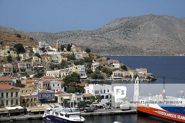 Am Hafen von Sými-Stadt  Insel Sými  Rhodos  Dodekanes  Griechenland  Europa