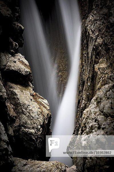 Höllentalklamm mit fließendem Wasser und Felsbrocken  Hammersbach  Garmisch  Oberbayern  Bayern  Deutschland  Europa