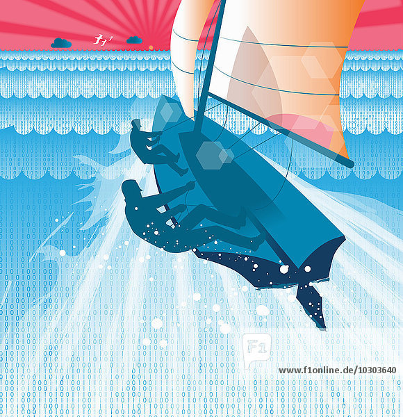 Männer segeln auf einer Yacht durch Binärcode-Ozean