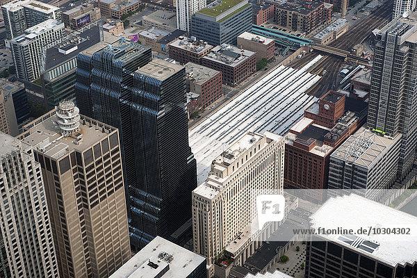 Luftbild der Wolkenkratzer in Chicago  Illinois  USA