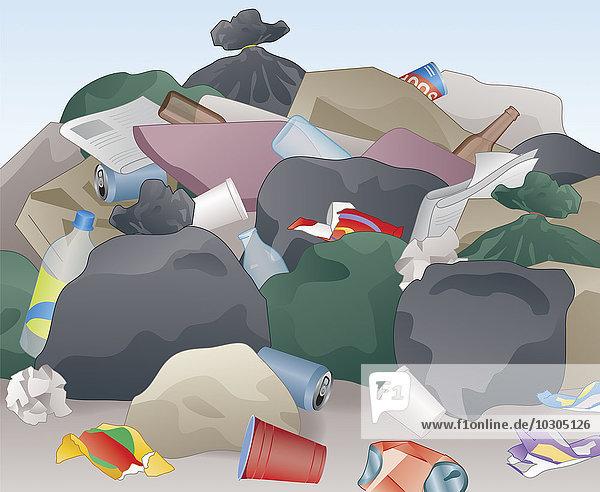Unordentlicher Haufen weggeworfenen Mülls