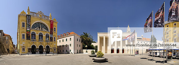 Croatia  Split  Gaje Bulat square with Church of Our Lady of Good Health and National Theater
