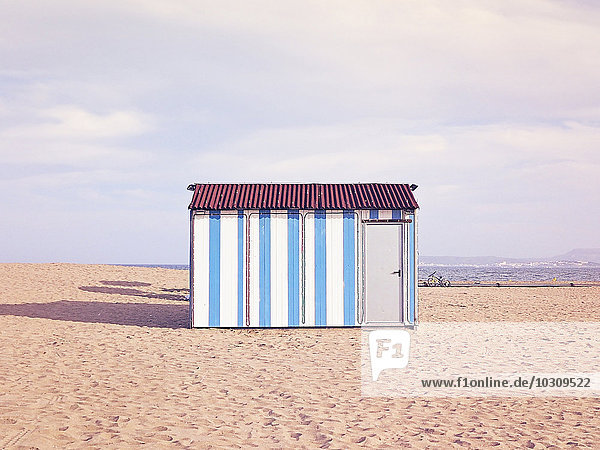 Spain  Catalunia  Sant Pere Pescador  a white and blue beach house