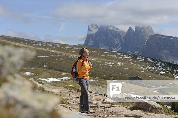 Italy  Alto Adige  Urtijei  hiker enjoying nature