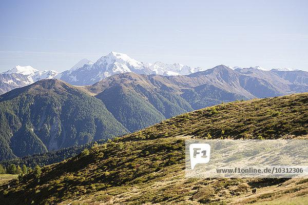 Italien  Südtirol  Gebiet Watles  Blick auf die Ortler Alpen und den Ortlergipfel