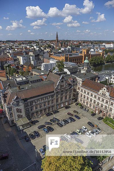 Deutschland  Mecklenburg-Vorpommern  Schwerin  Stadtbild  Blick auf alte Post und Arsenal
