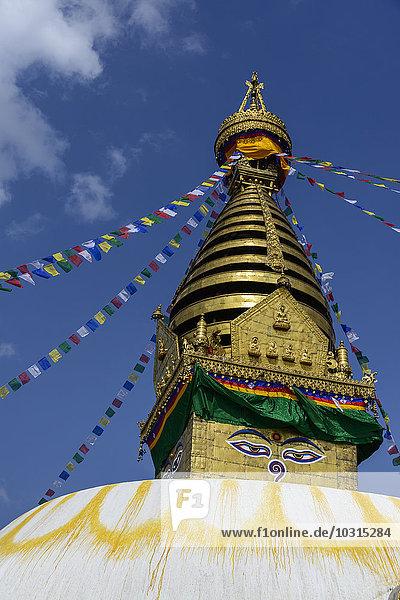Nepal  Kathmandu  Bodnath  Stupa-Heiligtum mit Gebetsfahnen
