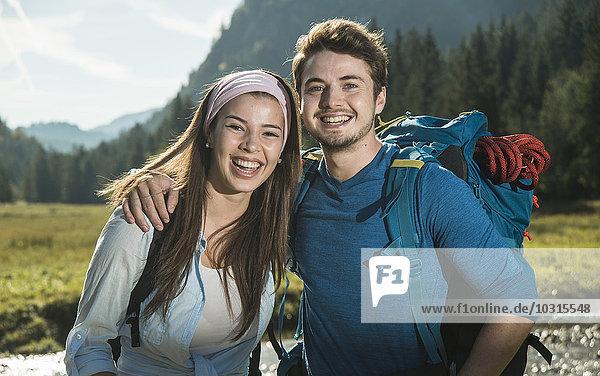 Austria  Tyrol  Tannheimer Tal  portrait of young hiker couple