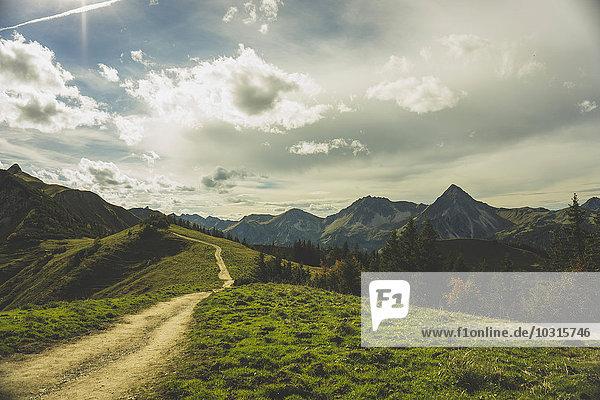 Austria  Tyrol  Tannheimer Tal  hiking trail in mountainscape