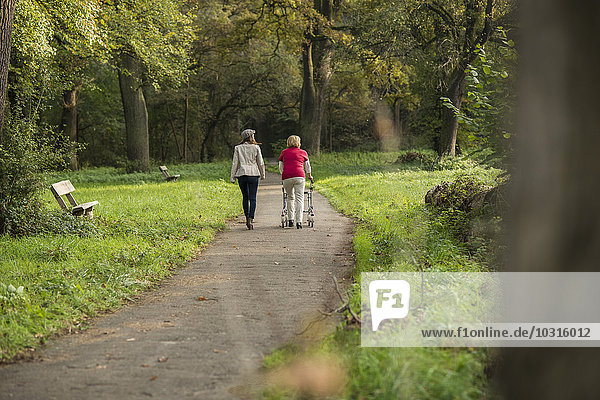 Seniorin und Enkelin beim gemeinsamen Spaziergang im Park  Rückansicht
