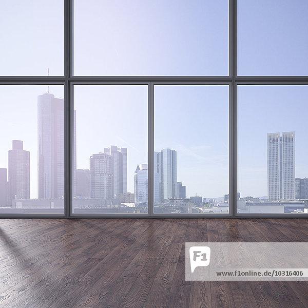 Leerer Raum mit Holzboden und Blick auf die Skyline  3D-Rendering