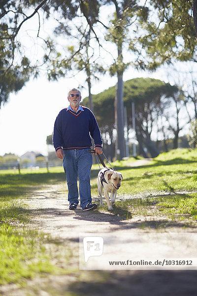 Sehbehinderter Mann  der mit seinem Blindenhund im Park spazieren geht.