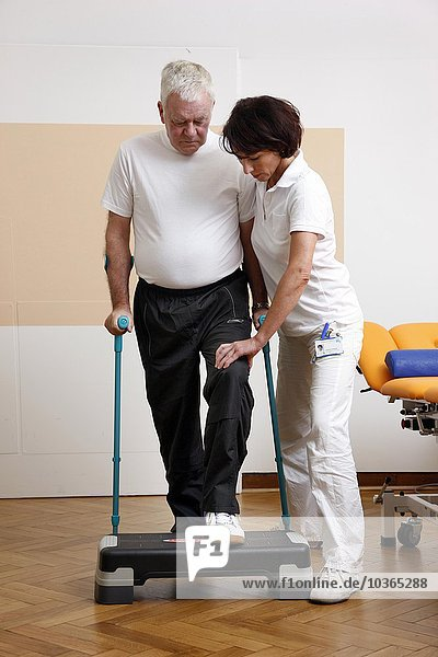patient is doing physiotherapy