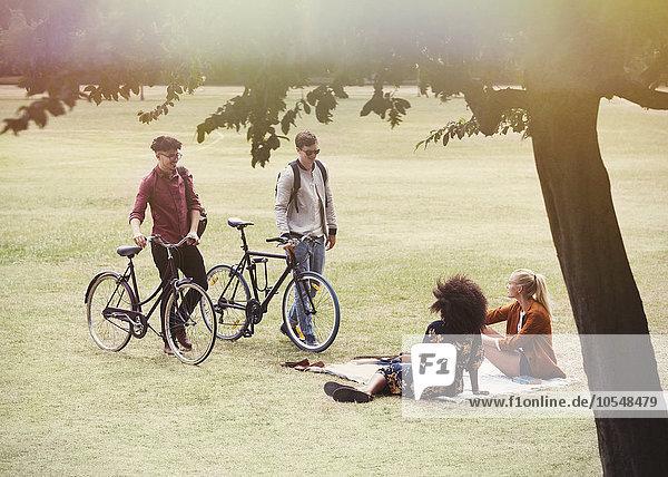Männer mit Fahrrädern nähern sich Frauen auf Decke im Park