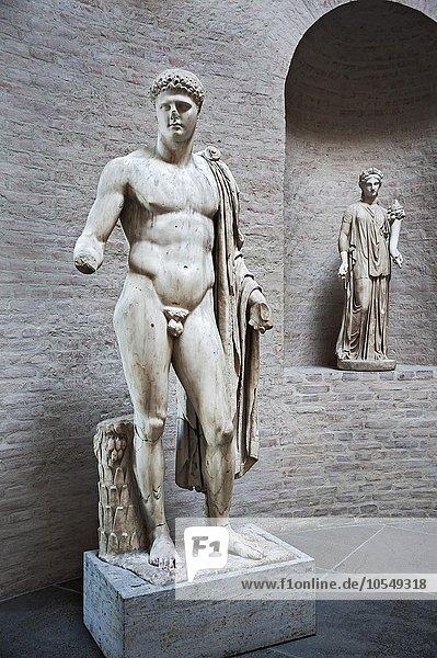 Statue des Apoll  Barberinischer Apoll und Muse  Glyptothek  München  Bayern  Deutschland  Europa