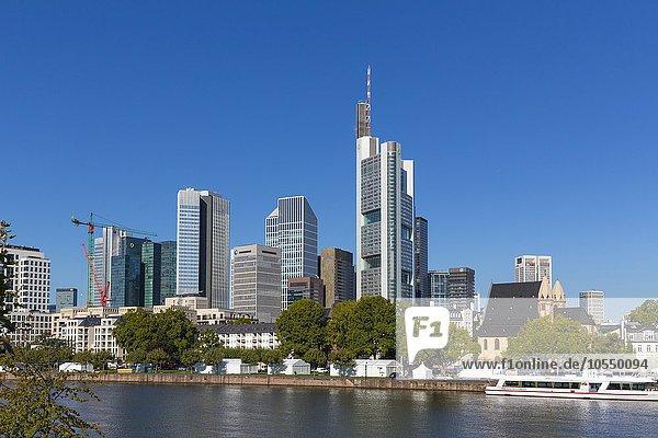 Skyline  Bankenviertel  Frankfurt am Main  Hessen  Deutschland  Europa