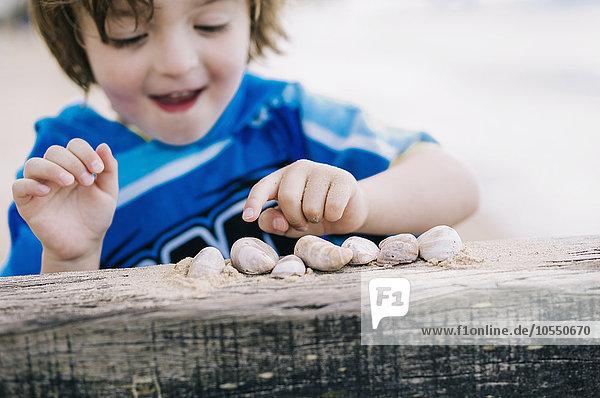 Ein Junge am Strand  der Muscheln zählt  reihte sich auf einem Wellenbrecher auf.