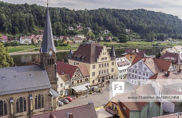 Marktplatz  Wehlen an der Elbe  Elbsandstein Gebirge  Sachsen  Deutschland  Europa