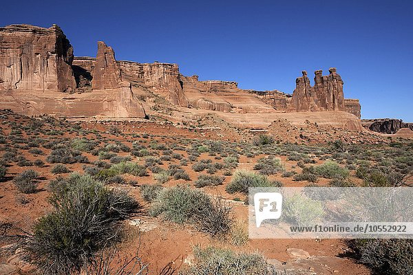 Courthouse Towers  rechts Three Gossips  Arches National Park  Utah  USA  Nordamerika