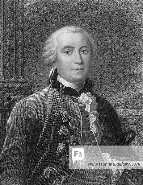 Steel engraving  ca. 1860  Georges Louis Marie Leclerc  Comte de Buffon  1707  1788  French scientist of age of Enlightenment