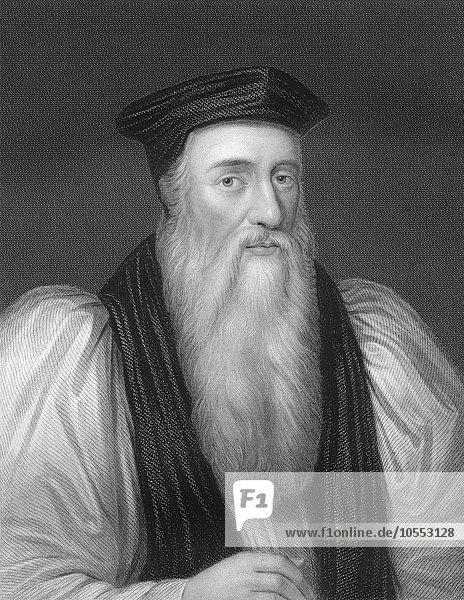 Steel engraving  ca. 1860  Thomas Cranmer  1489  1556  leader of English Reformation and Archbishop of Canterbury