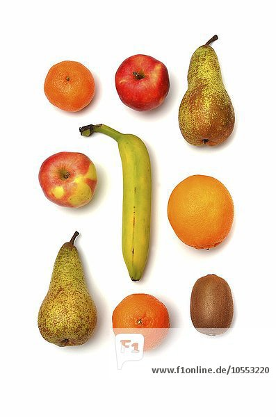 Verschiedene Obstsorten  Mandarine  Apfel  Birne  Banane  Kiwi  Orange
