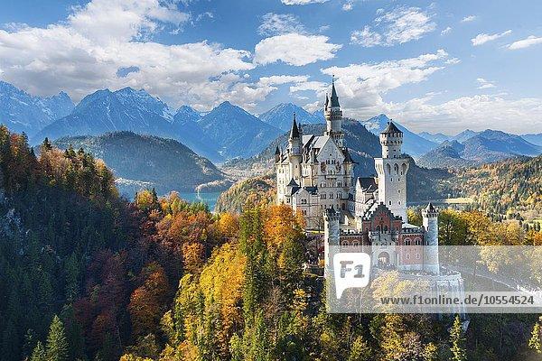 Schloss Neuschwanstein im Herbst  hinten Alpsee  Schwangau  Ostallgäu  Allgäu  Schwaben  Oberbayern  Bayern  Deutschland  Europa